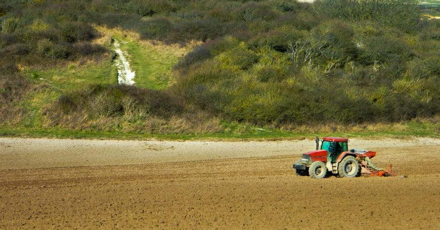 Things to do in spring: red tractor in field in the sun in the spring outside in nature
