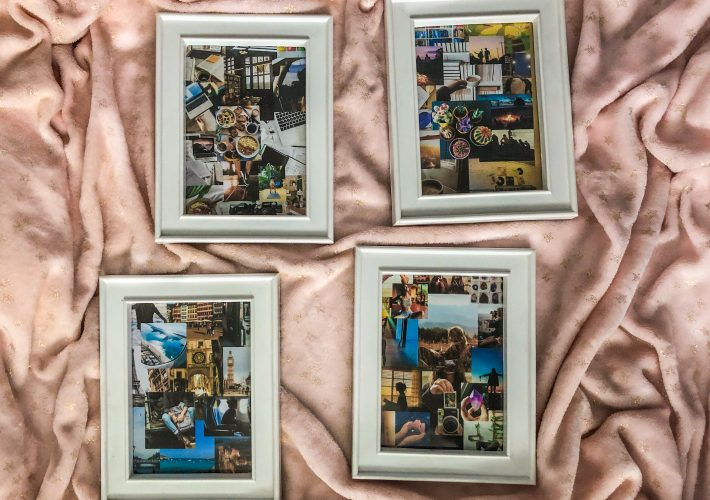 Dream board DIY - Dream board idea with dream board in frames lay on pink blanket for motivation and goal-setting