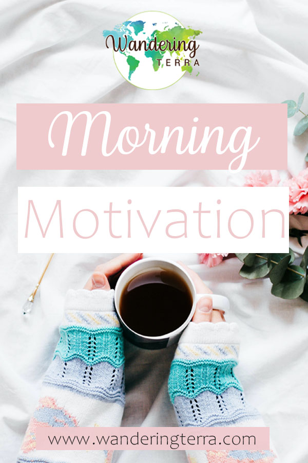 Girl in knitted sweater hold coffee cup on bed in the morning for morning motivation