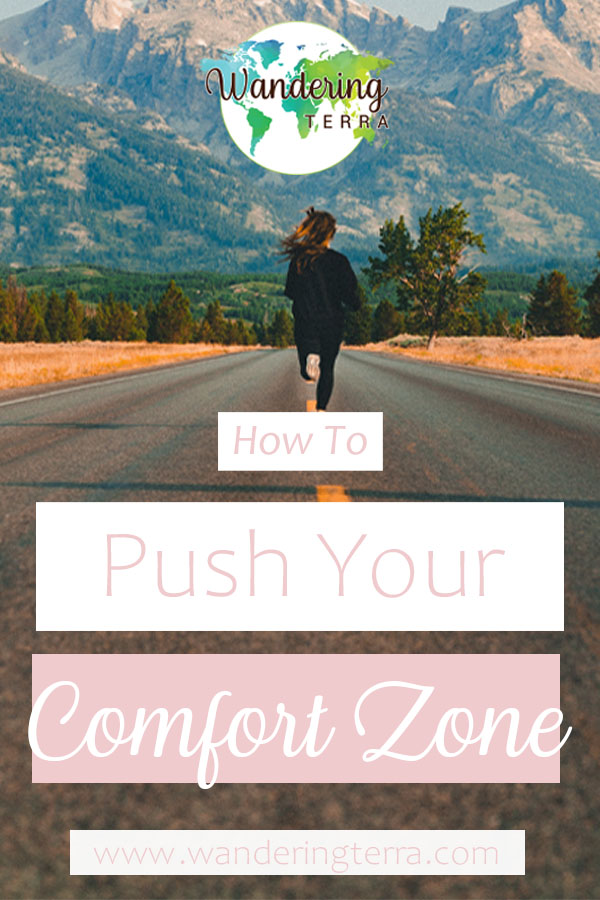 Pin for pinterest. Girl in black runs down road towards mountains - How To Push Yourself Out of Your Comfort Zone: Getting Comfortable with the Uncomfortable