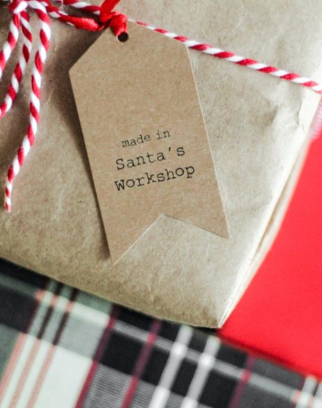 Vegan Holiday Gifts: 15 Vegan Stocking Stuffer Ideas (Written by a Vegan) - brown wrapping paper present on red cloth with label on string for CHristmas for gifting to a vegan