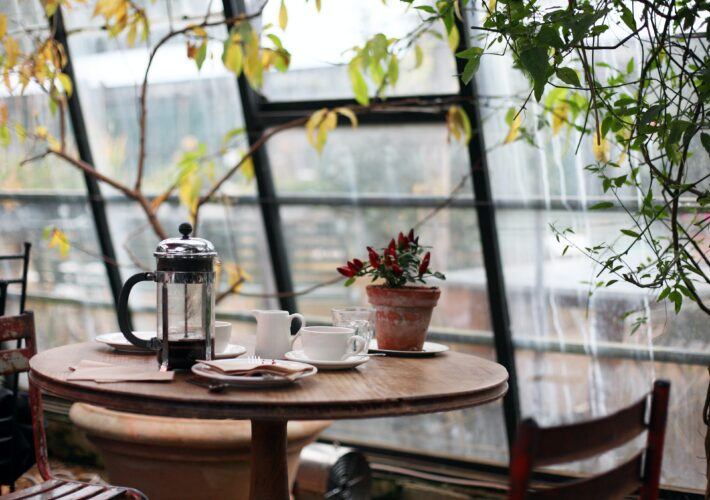 A plant pot sits next to a coffee mug and french press in a coffee shop with big open windows, where I wrote a post about idk what to do with my life